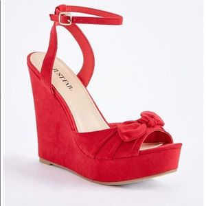 JustFab Red Ginka Wedge Bow Strappy Ankle Heels